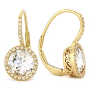 3.17ct Round Brilliant Cut White Topaz & Diamond Leverback Drop Earrings in 14k Yellow Gold