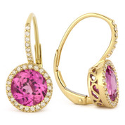 3.17ct Round Brilliant Cut Lab-Created Pink Sapphire & Diamond Leverback Drop Earrings in 14k Yellow Gold
