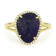 3.19 ct Fancy Checkerboard Blue Lapis & Round Cut Diamond Halo Right-Hand Ring in 14k Yellow Gold