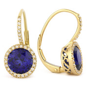 3.37ct Round Brilliant Cut Lab-Created Blue Sapphire & Diamond Leverback Drop Earrings in 14k Yellow Gold