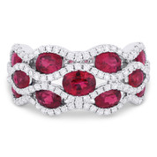 3.38ct Oval Cut Red Ruby & Diamond Pave Right-Hand Wide Statement Ring in 18k White Gold