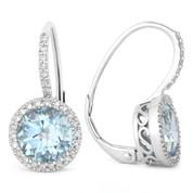 3.41ct Round Brilliant Cut Blue Topaz & Diamond Leverback Drop Earrings in 14k White Gold