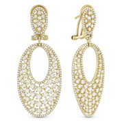 3.41ct Round Brilliant Cut Diamond Cluster Drop Earrings w/ French-Backs in 14k Yellow Gold