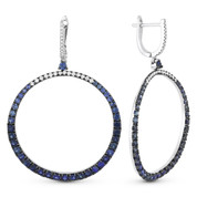 3.46ct Sapphire & Diamond Pave Dangling Open-Circle Earrings in 14k White & Black Gold