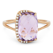 3.51ct Checkerboard Cushion Pink Amethyst & Round Cut Diamond Right-Hand Fashion Ring in  14k Rose Gold