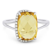 3.52ct Checkerboard Cushion Citrine & Round Cut Diamond Right-Hand Fashion Ring in 14k White Gold