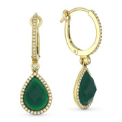 3.60ct Pear-Shaped Checkerboard Green Agate & Round Cut Diamond Dangling Earrings in 14k Yellow Gold