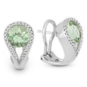 3.77ct Round Brilliant Cut Green Amethyst & Diamond Pave Huggie Earrings in 14k White Gold