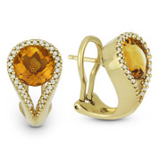 3.77ct Round Brilliant Cut Citrine & Diamond Pave Huggie Earrings in 14k Yellow Gold