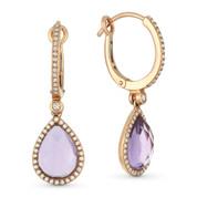 4.00ct Pear-Shaped Checkerboard Purple Amethyst & Round Cut Diamond Dangling Earrings in 14k Rose Gold