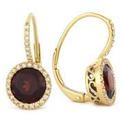 4.08ct Round Brilliant Cut Garnet & Diamond Leverback Drop Earrings in 14k Yellow Gold
