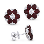 4.17ct Oval Cut Ruby Cluster & Round Diamond Flower Stud Earrings in 18k White Gold