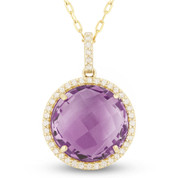 4.73ct Checkerboard Purple Amethyst & Round Cut Diamond Halo Pendant & Chain Necklace in 14k Rose Gold