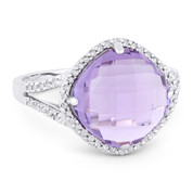 4.89ct Checkerboard Cushion Amethyst & Round Cut Diamond Right-Hand Cocktail Ring in 14k White Gold