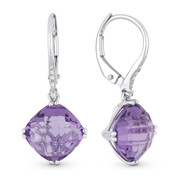 4.94ct Cushion Checkerboard Amethyst & Round Cut Diamond Dangling Earrings in 14k White Gold