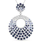 4.99ct Round Cut Blue Sapphire & Diamond Statement Pendant & Chain Necklace in 14k White Gold