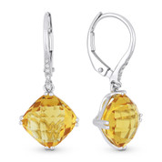 5.21ct Cushion Checkerboard Citrine & Round Cut Diamond Dangling Earrings in 14k White Gold
