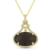 5.22ct Checkerboard Oval Smoky Topaz & Round Cut Diamond Halo Pendant & Chain Necklace in 14k Yellow Gold