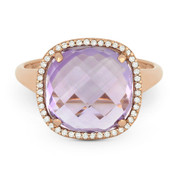 5.22ct Cushion Cut Pink Amethyst & Round Diamond Pave Right-Hand Cocktail Ring in 14k Rose Gold