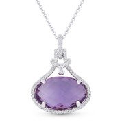 5.25ct Checkerboard Oval Amethyst & Round Cut Diamond Halo Pendant & Chain Necklace in 14k White Gold