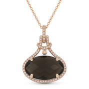 5.25ct Checkerboard Oval Smoky Topaz & Round Cut Diamond Halo Pendant & Chain Necklace in 14k Rose Gold