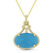 5.25ct Checkerboard Oval Blue Turquoise & Round Cut Diamond Halo Pendant & Chain Necklace in 14k Yellow Gold