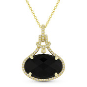 5.32ct Checkerboard Oval Black Onyx & Round Cut Diamond Halo Pendant & Chain Necklace in 14k Yellow Gold