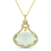 5.38ct Checkerboard Oval Green Amethyst & Round Cut Diamond Halo Pendant & Chain Necklace in 14k Yellow Gold