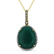 5.89ct Pear-Shaped Green Agate & Round Cut Diamond Halo Pendant & Chain Necklace in 14k Yellow & Black Gold
