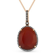6.00ct Pear-Shaped Red Agate & Round Cut Diamond Halo Pendant & Chain Necklace in 14k Rose & Black Gold