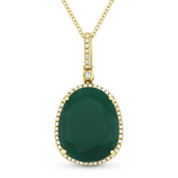 6.23ct Pear-Shaped Green Agate & Round Cut Diamond Halo Pendant & Chain Necklace in 14k Yellow Gold