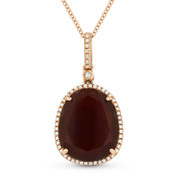 6.35ct Pear-Shaped Red Agate & Round Cut Diamond Halo Pendant & Chain Necklace in 14k Rose Gold