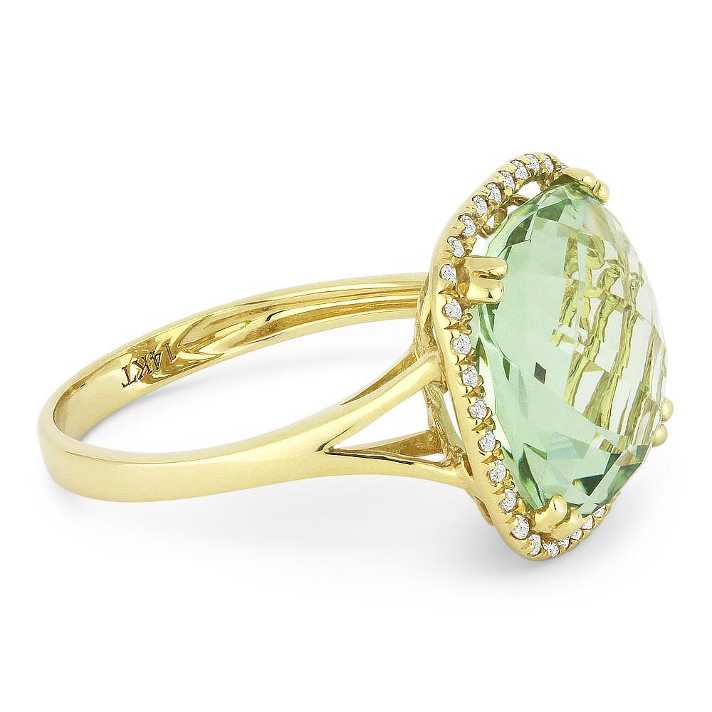 10.85 ct Cushion Cut Green Amethyst /& Diamond Pave 14k Yellow Gold Cocktail Ring