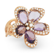 6.58ct Fancy Pear Amethyst & Round Cut Diamond Flower Cocktail Ring in 14k Rose Gold