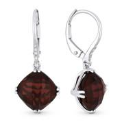 6.84ct Cushion Checkerboard Garnet & Round Cut Diamond Dangling Earrings in 14k White Gold