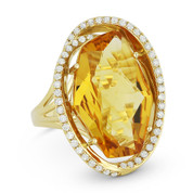 7.96ct Fancy Checkerboard Citrine & Diamond Oval Halo Cocktail Ring in 14k Yellow Gold
