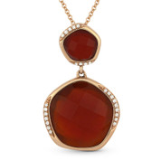 8.34ct Fancy Checkerboard Red Agate & Round Diamond Pendant & Chain Necklace in 14k Rose Gold