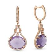 8.40ct Oval Cut Amethyst & Round Diamond Halo Dangling Earrings in 14k Rose Gold