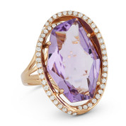 8.43ct Fancy Checkerboard Pink Amethyst & Diamond Oval Halo Cocktail Ring in 14k Rose Gold