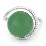 8.45ct Checkerboard Green Aventurine & Diamond Right-Hand Cocktail Ring in 14k White Gold