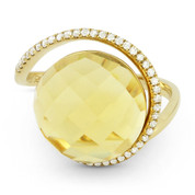 8.62ct Checkerboard Citrine & Diamond Right-Hand Cocktail Ring in 14k Yellow Gold