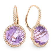 12.57ct Checkerboard Pink Amethyst & Round Cut Diamond Halo Leverback Drop Earrings in 14k Rose Gold