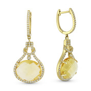 8.80ct Oval Cut Citrine & Round Diamond Halo Dangling Earrings in 14k Yellow Gold