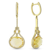 8.82ct Oval Cut Citrine & Round Diamond Halo Dangling Earrings in 14k Yellow Gold