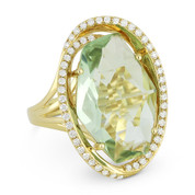 8.86ct Fancy Checkerboard Green Amethyst & Diamond Oval Halo Cocktail Ring in  14k Yellow Gold