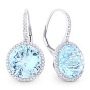 14.45ct Checkerboard Blue Topaz & Round Cut Diamond Halo Leverback Drop Earrings in 14k White Gold