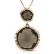 9.03ct Fancy Checkerboard Smoky Topaz & Round Diamond Pendant & Chain Necklace in 14k Rose Gold