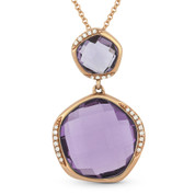 9.28ct Fancy Checkerboard Amethyst & Round Diamond Pendant & Chain Necklace in 14k Rose Gold