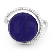 9.29ct Checkerboard Blue Lapis & Diamond Right-Hand Cocktail Ring in 14k White Gold