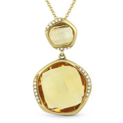 9.40ct Fancy Checkerboard Citrine & Round Diamond Pendant & Chain Necklace in 14k Yellow Gold